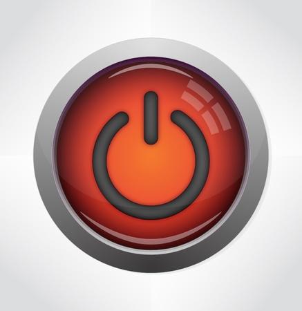 Glossy power button icon Stock Vector - 12995390