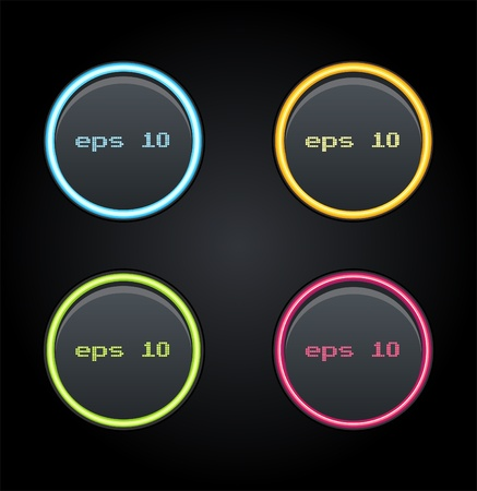 Set of glowing web buttons  Vector illustrations