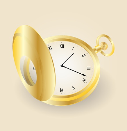 pocket gold watch highly detailed   Illustration of old opened vintage pocket clock Vector