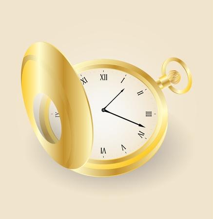 pocket gold watch highly detailed   Illustration of old opened vintage pocket clock Stock Vector - 12995356