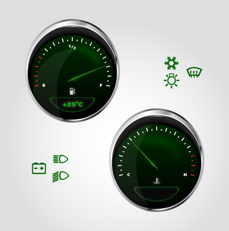 Illustration of fuel and temperature control of dashboard car Illustration