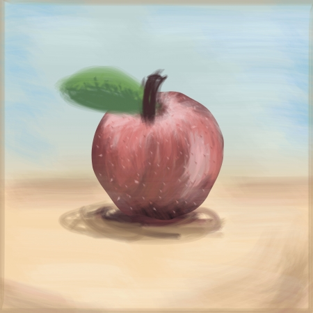 Painterly Apple, freehand drawing linear style