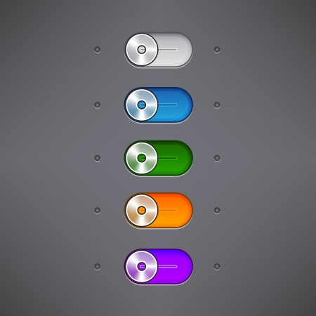 Simple Set of Switch Buttons, Set of ON OFF switch buttons and rollovers Vector