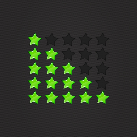 Glossy Rating Stars green for web. vector illustration, eps10 Vector