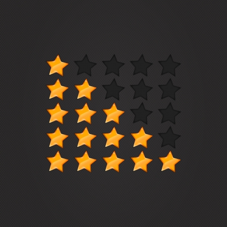 Glossy Rating Stars orange for web. vector illustration, eps10 Vector