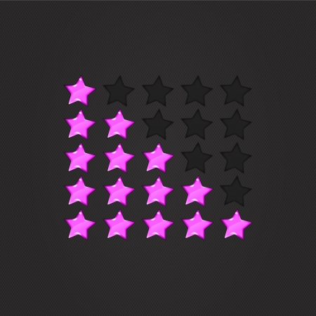 Glossy Rating Stars violet for web. vector illustration, eps10