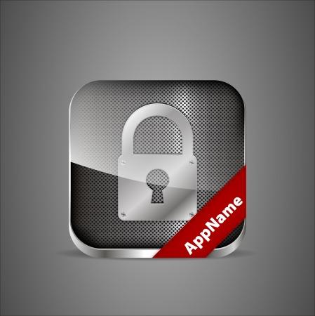 close button: lock app icon Illustration