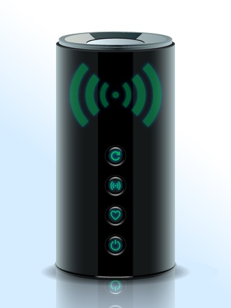 Realistic illustration of a 3D Wireless Home Router, network router with wireless transmission, Modem. Internet. Illustration