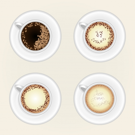 Top view of black coffee cup isolated on white background.
