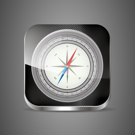 Glossy Compass app icon with windrose Stock Vector - 14926078