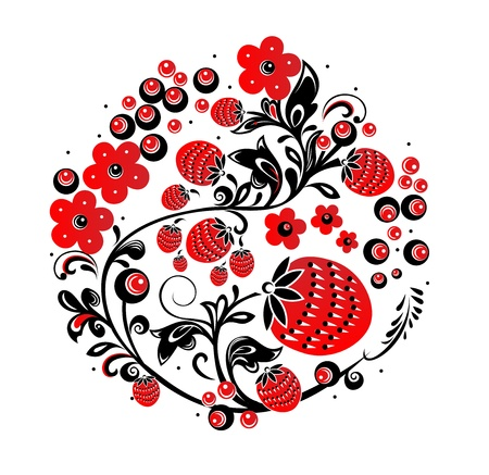Russian traditional ornament  Hohloma    Illustration of traditional Russian ornament  Illustration
