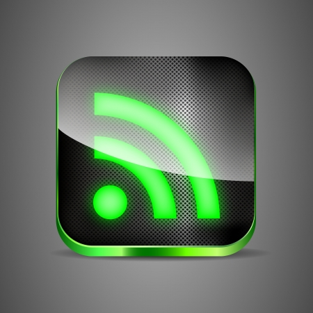 mobile sms: WiFi app icon on metal background  Green wireless button vector illustration eps 10 Illustration