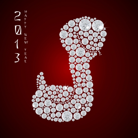 Year of the snake 2013, Vector illustration of seamless  shiny diamond snake