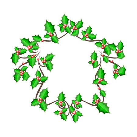 illustration of beautiful christmas holly branch, Winter Festival Brushes