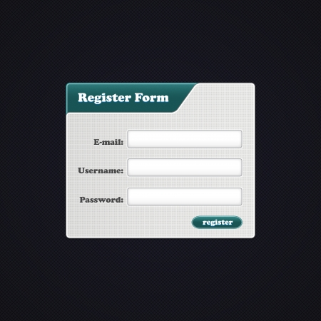 Simple Register Form. Register form for your website. Vector