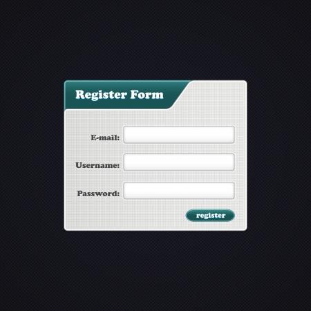 Simple Register Form. Register form for your website. Stock Vector - 16099787