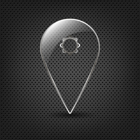Glass Map Pin Pointer on a metal background, User interface glass map marker,  illustration