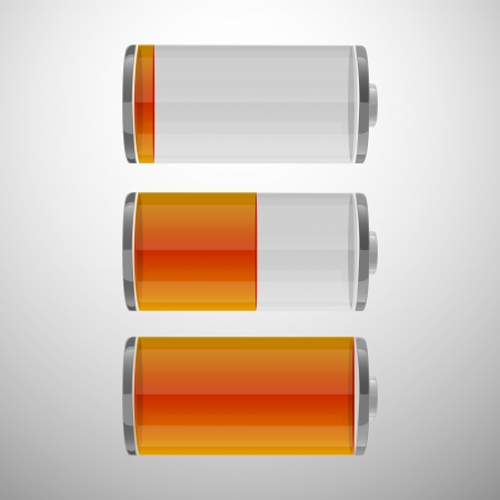 Glossy battery icons set  Set of battery charge level indicators  Vector illustration  eps 10