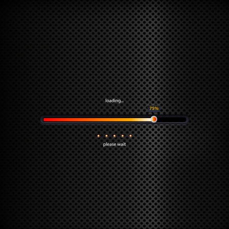 Progress bar - orange trendy design on dark background. Collection of modern preloaders and progress loading bars