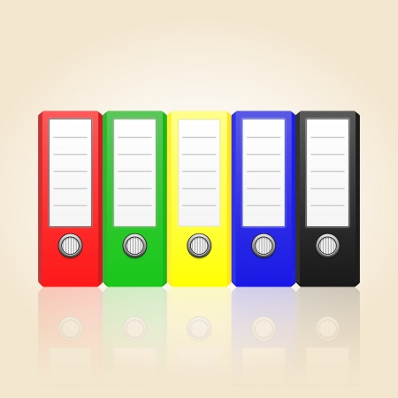 Row of color binders Conceptual illustration with folders and place for your text  For different business design