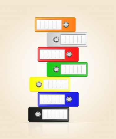Row of color binders  Illustration of Office folders for documents stacked vertically Stock Vector - 17982447