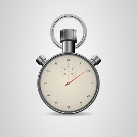 Vector Vintage Stopwatch in high detail  Retro mechanic chromed stopwatch vector illustration  Front view