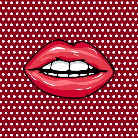 Sweet Pair of Glossy. Open Sexy wet red lips with teeth pop art set backgrounds Illustration