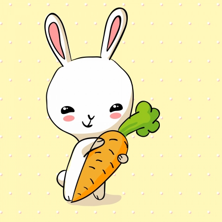 Hiding Easter Bunny card. Small lovely rabbit holds giant carrot Vector