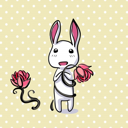 birthday religious: Hiding Easter Bunny card. Small lovely rabbit holds giant carrot
