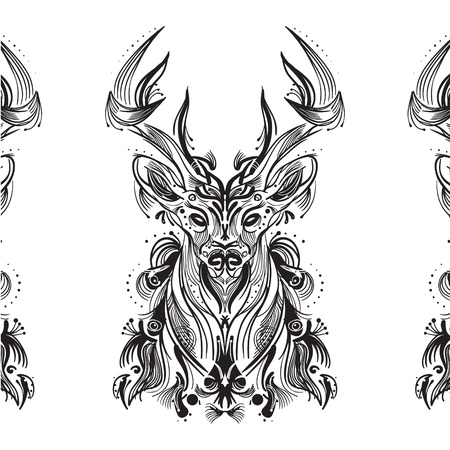 Black and white card with stylized deer. Stylish Deer background Vector
