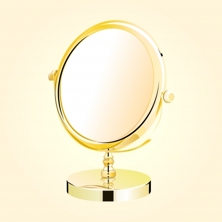 Vector metal make-up mirror  beautiful makeup mirror on vintage grunge background - eps10