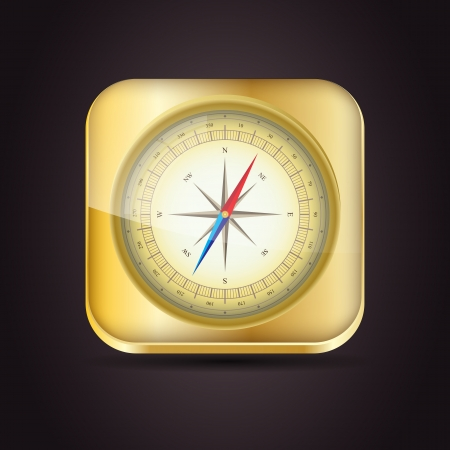 Glossy Compass app icon with windrose  Vector Illustration  EPS10 Vector