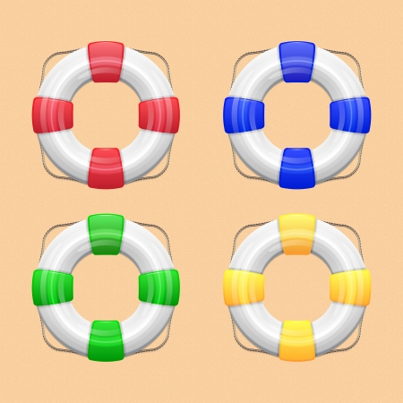 Set of White lifebuoy with red, green, blue  yellow stripes and rope  Isolated illustration