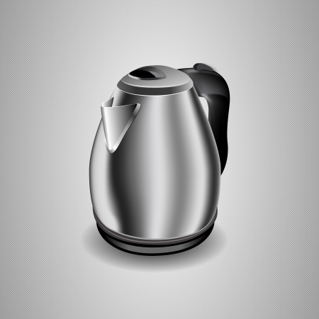 kettle: Illustration of an electric kettle  Editable illustration of modern chrome stainless steel electric kettle on white for illustrator for print and web usage