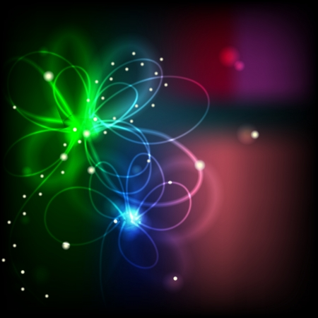 Flow of light forming flower. Illustration of futuristic abstract background resembling motion blurred neon light curves Illustration