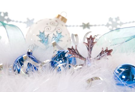silver ribbon: Soft, wispy blue and white Christmas design Stock Photo