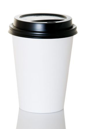 Paper coffee container with black lid