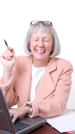 laughing out loud: Ejecutivo Senior riendo a carcajadas