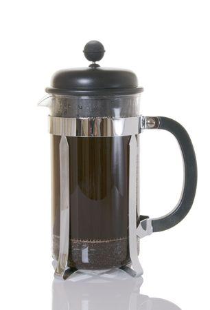 Prensa café con café recién en francés  Foto de archivo - 5422785