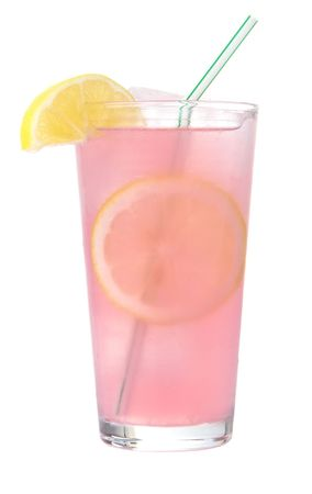 wedges: Glass of pink lemonade on ice with lemon wedges and straw