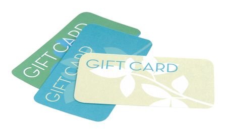 Gift cards on white background Stock Photo