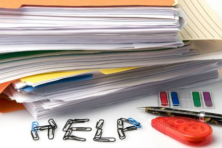 A huge stack of paperwork and files all needing signatures Stock Photo