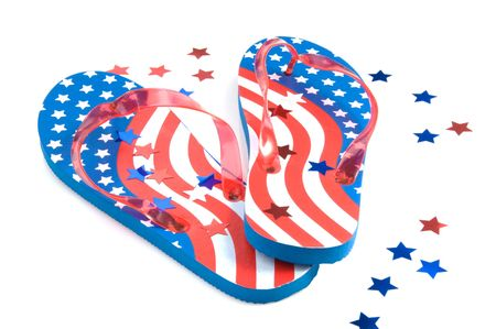 flops: Pair of American flag flip flops with star confetti