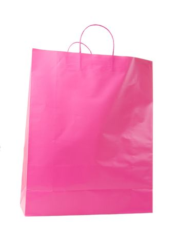 Pink shopping bag on white background Stock Photo