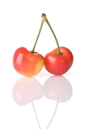 Two Rainier cherries joined at the stem