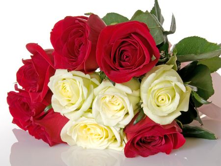Red and white roses in a bouquet Stock Photo - 5445589