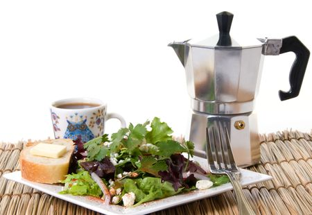energizing: Tossed salad with french bread and butter and a cup of espresso