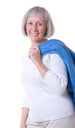 Senior woman in casual attire Stock Photo