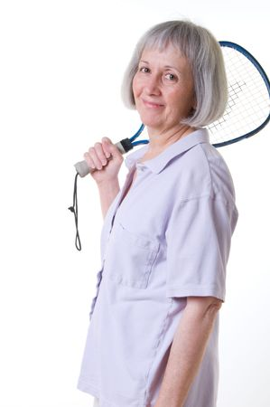raquet: Senior woman with raquet club Stock Photo