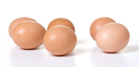 loosely: Six brown eggs loosely arranged on white Stock Photo